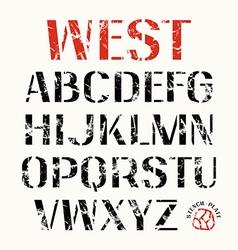 Uppercase stencil plate sans serif font vector