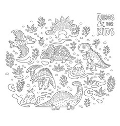 Cartoon dinosaurs collection in outline vector