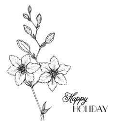 Flowers in a hand drawn style vector image