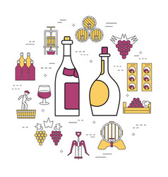 linear concept of white and red wine vector image