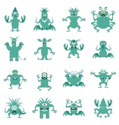 Set of flat moster icons3 vector image