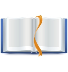 Blue open book with a bookmark vector image vector image