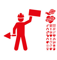 builder with brick icon with lovely bonus vector image