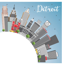 detroit michigan usa city skyline with gray vector image