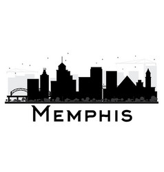 memphis city skyline black and white silhouette vector image