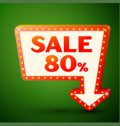 Retro billboard with sale 80 percent discounts vector