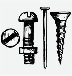 Set bolt nail and nut vector image