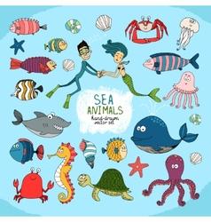 Set of hand-drawn cartoon sea life vector image