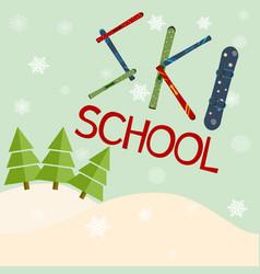 Ski school logo emblems design elements winter vector