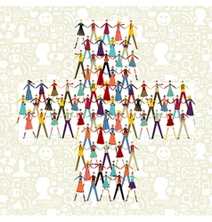 Social media people in plus symbol shape vector image vector image