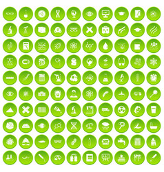 100 microscope icons set green circle vector image vector image