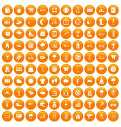 100 woman sport icons set orange vector