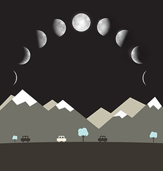 Abstract Flat Design Night Landscape with Moon vector image