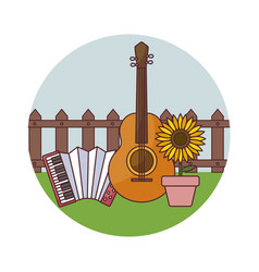Accordion with guitar and sunflower in frame vector