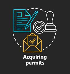 Acquiring permits chalk concept icon obtaining vector