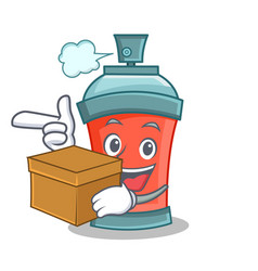Aerosol spray can character cartoon with box vector