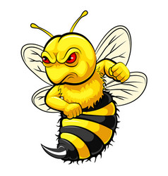 Angry bee mascot vector