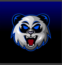 Angry panda head mascot logo design vector