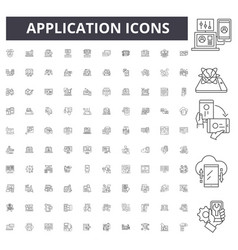 application line icons signs set outline vector image