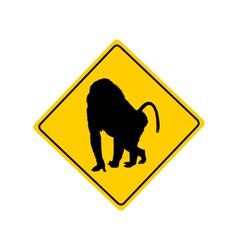 Baboon warning sign vector