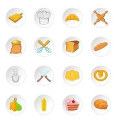 Bakery icons set cartoon style vector image