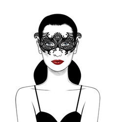 beautiful girl in carnival mask vector image