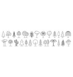 big set minimal trees linear icons vector image