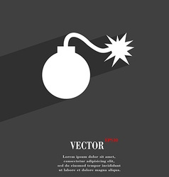 Bomb symbol flat modern web design with long vector
