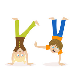 boy and girl standing upside down on their hands vector image