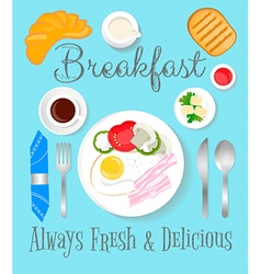 Breakfast blue vector