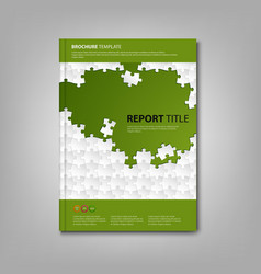 Brochures book or flyer with white puzzle green vector image