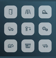 building icons line style set with entrance truck vector image