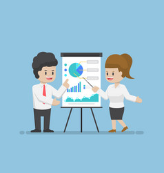 Businessman and businesswoman analyzing business vector
