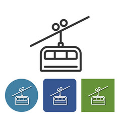 Cable railway line icon in different variants vector