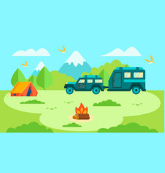 camper trailer in forest family trip card design vector image