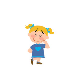 Cartoon character of a shy girl vector