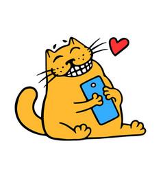 Cartoon orange cat and blue smartphone good news vector
