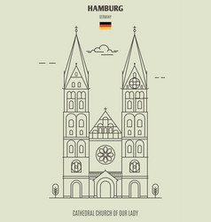 Cathedral church of our lady in hamburg vector