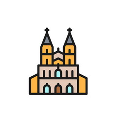 Cologne cathedral landmark german flat color vector