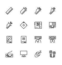 Computer hardware and equipment line icon set vector