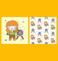 Cute archer girl with blonde hair and pattern vector