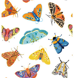 cute butterflies seamless pattern colorful vector image