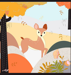 cute deer cartoon in the autumn forest vector image