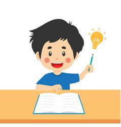 Cute kid boy study hard think vector