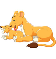 Cute mother and baby lion cartoon vector