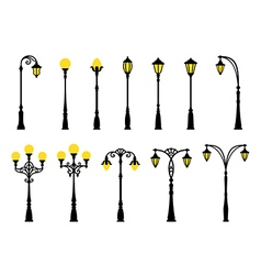 Decorative stylized streetlights silhouettes vector