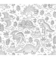 Dinosaurs ink seamless pattern coloring book page vector