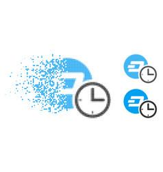 Disintegrating pixel halftone dash credit counter vector