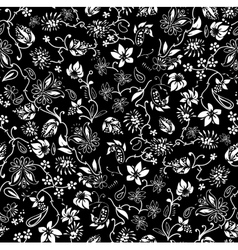 Ditsy black and white Floral Seamless Pattern vector image