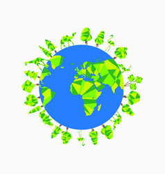 Earth day planet animals and trees world vector